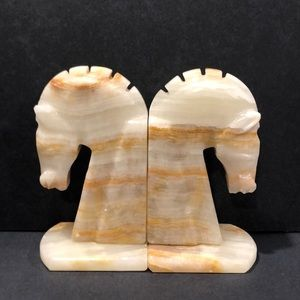 MCM Onyx Horse Bookends